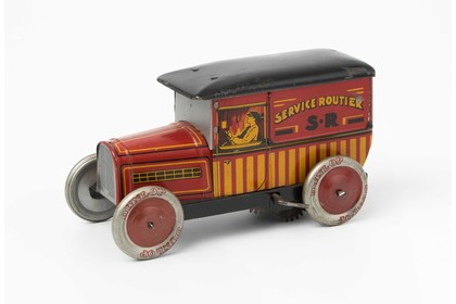 Groß Automobil Auto Blechspielzeug roter offener Rennwagen Nr 8  Länge ca 28 cm